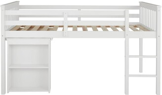 Novara Mid Sleeper Bedwith Pull Out Desk - White