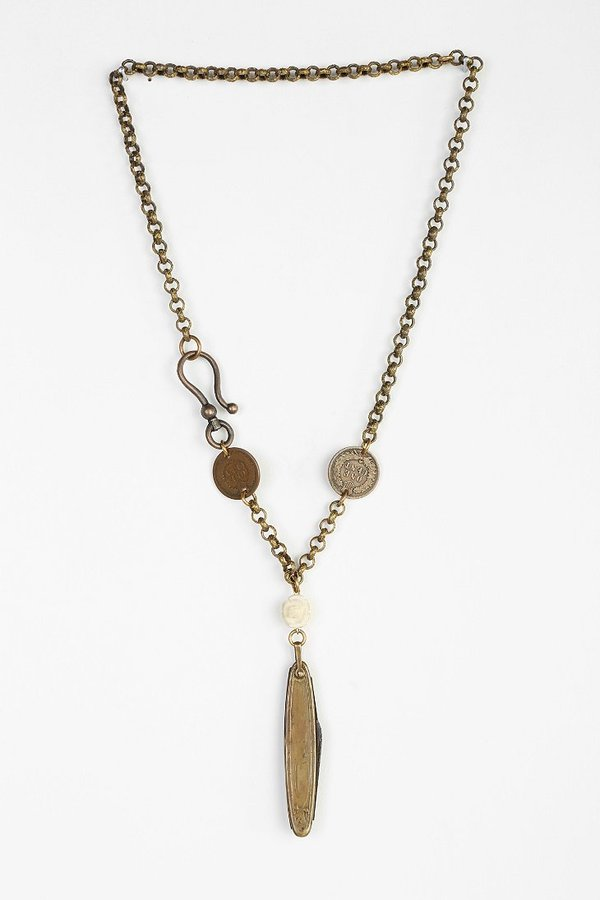 Urban Outfitters Lux Revival X Urban Renewal Art Deco Flower Knife Necklace