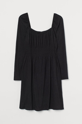 H&M H&M+ Puff-sleeved Dress - Black