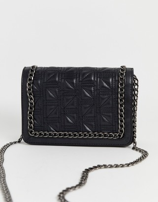 Asos Design DESIGN square quilt chain cross body bag-Black