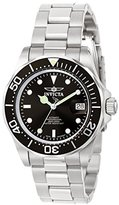 Invicta Unisex Pro Diver Quartz Watch with Black Dial Analogue Display and Silver Stainless Steel Bracelet 9307