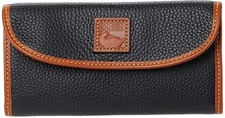 Dooney & Bourke Pebble II Continental Clutch (Black/Brandy Trim) Clutch Handbags