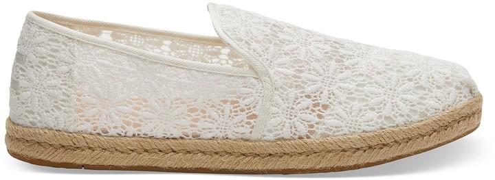 32aa465eccbdc White Floral Lace Deconstructed Alpargatas Women's Espadrilles