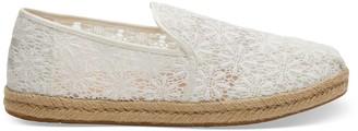 Toms White Floral Lace Deconstructed Alpargatas Women's Espadrilles