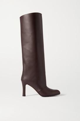 Manolo Blahnik Khomobi Gum Leather Knee Boots - Dark brown