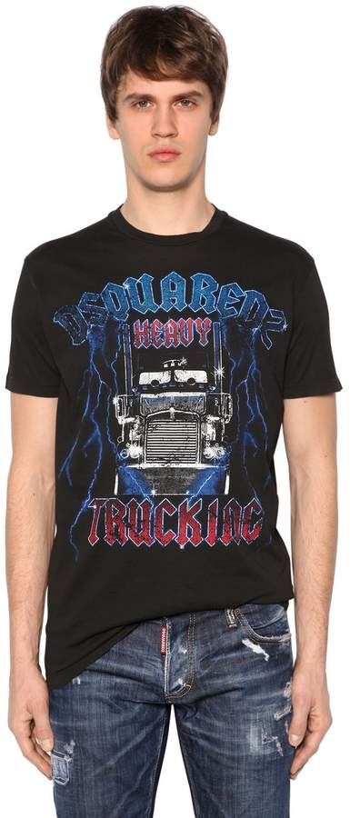 DSQUARED2 Trucking Printed Cotton Jersey T-Shirt