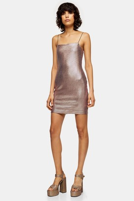Topshop Womens Rose Gold Holographic Bodycon Mini Dress - Rose Gold