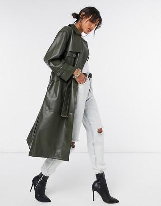 Urban Code Urbancode Teagan PU leather trench coat in khaki