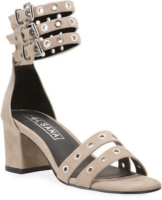 Sol Sana Sugar Heel Grommet Suede Sandals