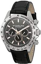 Stuhrling Original Champion Victory Triumph Classic Men's Quartz Watch with Grey Dial Analogue Display and Black Leather Strap 564L.01
