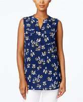 Charter Club Floral-Print Split-Neck Top, Created for Macy's