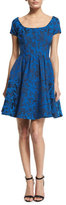 Zac Posen Jacquard Floral-Print Cocktail Dress, Royal Blue