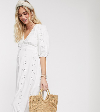 ASOS DESIGN Maternity broderie tea maxi dress with puff sleeve in white