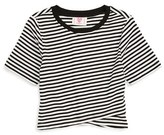 Hip Envelope Hem Stripe Tee (Big Girls)