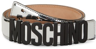 Moschino Logo Metallic Leather Belt