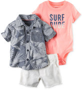 Carter's 3-Pc. Surf Dude Bodysuit, Shirt and Shorts Set, Baby Boys (0-24 Months)