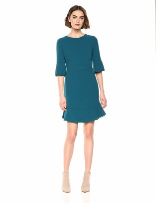 Betsey Johnson Women's Stretch Crepe Dress with Bell Sleeves and Trim Detail