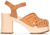 Swedish Hasbeens Gullan sandals - women - Wood/Leather/wood/rubber - 38