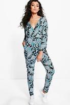 Boohoo Lara Paisley Print Wrap Front Lounge Jumpsuit