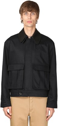 Loewe Cotton Canvas Jacket W/ Leather Collar