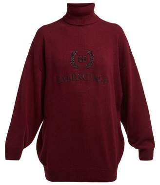 Balenciaga Logo Embroidered Roll Neck Wool Blend Sweater - Womens - Burgundy Multi