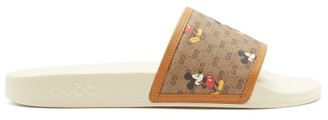 Gucci Mickey Mouse Canvas Sliders - Brown Multi