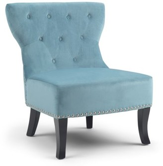 Brooklyn + Max Providence 28 inch Wide Traditional Accent Chair in Mediterranean Blue Velvet