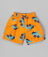 I Play Orange Dump Truck Pocket Swim Diaper Trunks - Infant