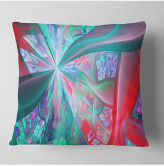 """Designart Red Blue Fractal Exotic Plant Stems Abstract Throw Pillow - 18"""" X 18"""""""