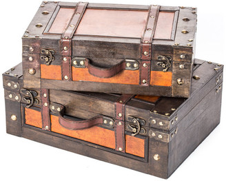Trunks Trademark Innovations Vintage Style Wood Decorative Suitcases, 2-Piece Set