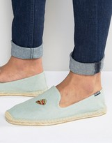 Soludos Embroidered Pizza Chambray Espadrilles