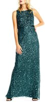 Adrianna Papell Sleeveless Beaded Blouson Top Gown