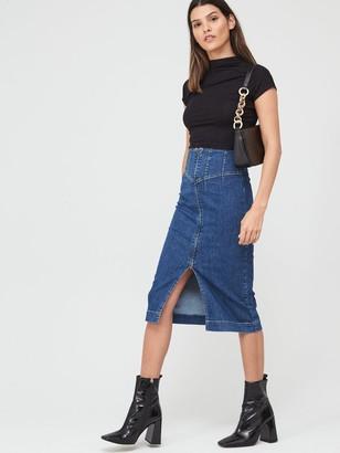 Very Corset Fit Denim Midi Skirt - Mid Wash