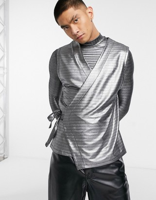 ASOS DESIGN co-ord relaxed sleeveless wrap top in silver metallic