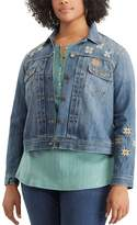 Chaps Plus Size Embroidered Jean Jacket