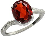 Gem Stone King 2.86 Ct Oval Red Garnet and White Topaz 18k White Gold Ring