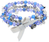 lonna & lilly Silver-Tone Blue Bead Bow Coil Bracelet