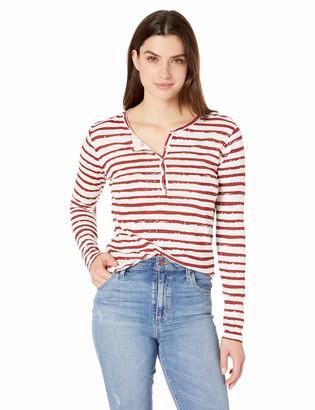 Majestic Filatures Women's Cotton/Cashmere Stripe Long Sleeve Henley