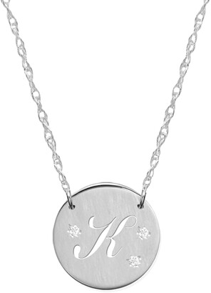 Jane Basch Designs Pierced Initial Diamond Pendant Necklace