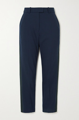 Racil Aries Cropped Satin-trimmed Wool-blend Straight-leg Pants - Navy