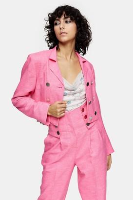 Topshop Womens Idol Pink Cropped Blazer - Pink