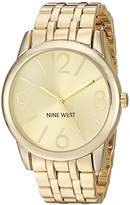 Nine West Women's Quartz Watch with Gold Dial Analogue Display and Gold Alloy Bracelet NW/1578CHGB