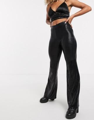 Bershka flare sequin trouser in black