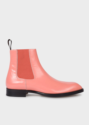 Paul Smith Men's Pink High-Shine Leather 'Stealth' Boots
