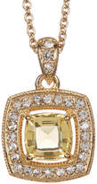 Nadri 18K Yellow Gold Plated Cushion-Cut Halo Pendant Necklace