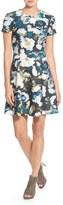 Eliza J Print Ponte Fit & Flare Dress (Regular & Petite)