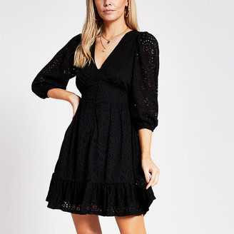 River Island Petite black broderie mini smock dress