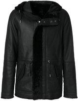 Yves Salomon hooded leather coat