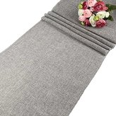 AerWo Gray Natural Imitated Linen Table Runner for Wedding Party Decoration - 13.5 Inches x 108 Inches - L