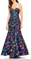 Ellie Wilde Floral-Print Strapless Tulle-Overlay Trumpet Dress